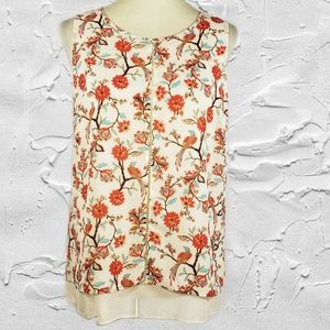 Rose & Olive Floral Sleeveless Layered Blouse Sz M